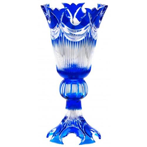 Vaso Diadem, cristallo, colore blu, altezza 355 mm