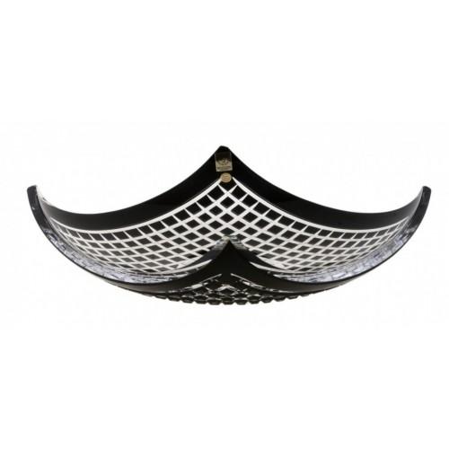 Insalatiera Quadrus, cristallo, colore nero, diametro 350 mm