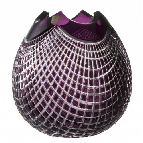 Vaso Quadrus, cristallo, colore viola, altezza 280 mm