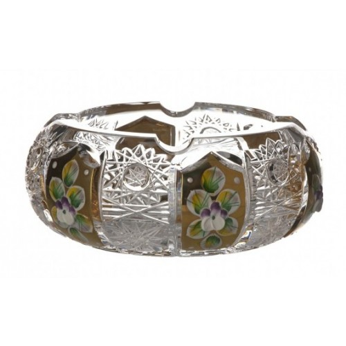 Portacenere 500PK, cristallo trasparente dipinto oro, diametro 130 mm