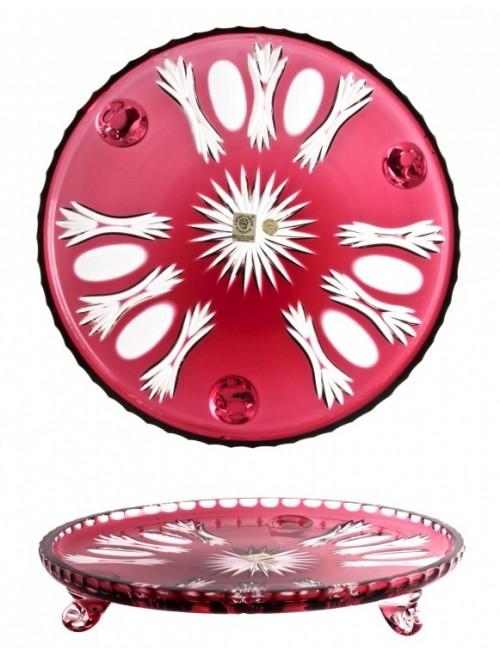 Piatto Dandelion, cristallo, colore rosso, diametro 280 mm