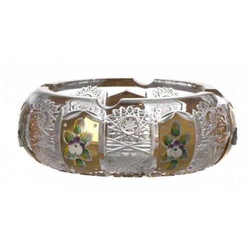 Portacenere 500PK, cristallo trasparente dipinto oro, diametro 155 mm