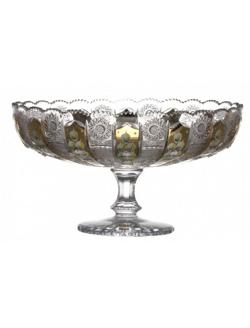 Portafrutta 500PK, cristallo trasparente dipinto oro, diametro 330 mm