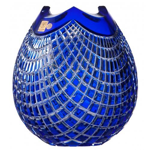 Vaso Quadrus, cristallo, colore blu, altezza 210 mm