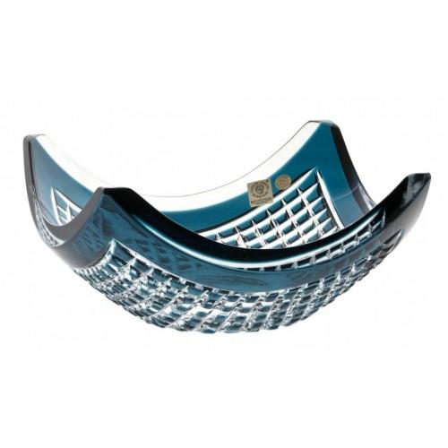 Insalatiera Quadrus, cristallo, colore azzurro, diametro 280 mm