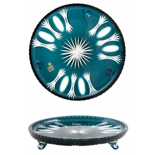 Piatto Dandelion, cristallo, colore azzurro, diametro 305 mm