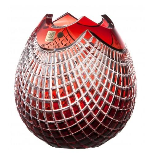 Vaso Quadrus, cristallo, colore rosso, altezza 210 mm