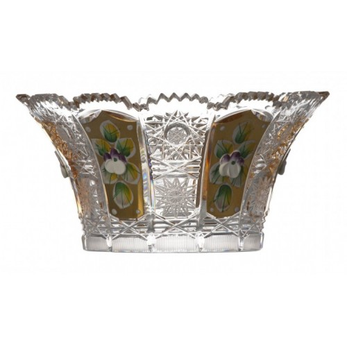 Insalatiera 500PK V, cristallo trasparente dipinto oro, diametro 155 mm