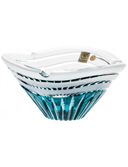 Portacenere Dune, cristallo, colore azzurro, diametro 180 mm