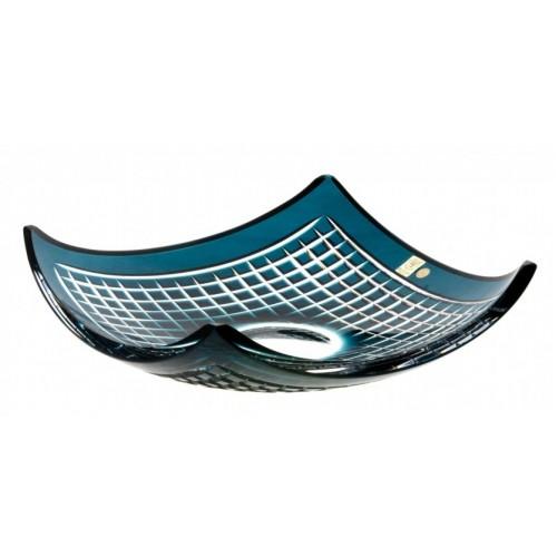 Insalatiera Quadrus, cristallo, colore azzurro, diametro 350 mm
