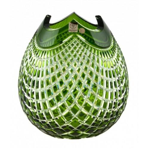 Vaso Quadrus, cristallo, colore verde, altezza 210 mm