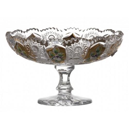 Portafrutta 500PK, cristallo trasparente dipinto oro, diametro 160 mm
