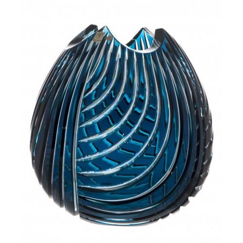 Vaso Linume, cristallo, colore azzuro, altezza 280 mm