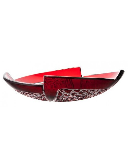 Insalatiera Fan, cristallo, colore rosso, diametro 350 mm