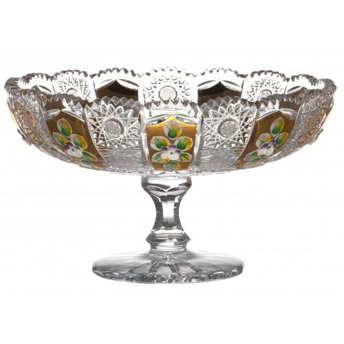 Portafrutta 500PK, cristallo trasparente dipinto oro, diametro 205 mm