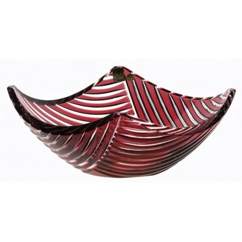 Insalatiera Linum, cristallo, colore rosso, diametro 280 mm