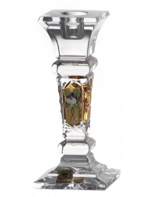 Portacandela 500PK, cristallo trasparente dipinto oro II, altezza 155 mm