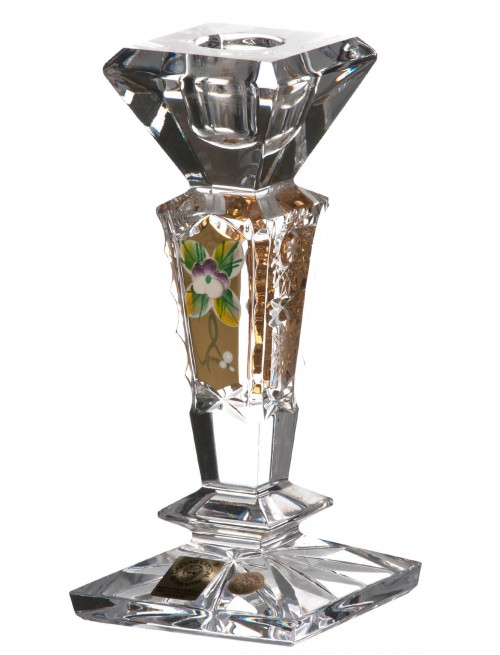 Portacandela 500PK, cristallo trasparente dipinto oro, altezza 155 mm