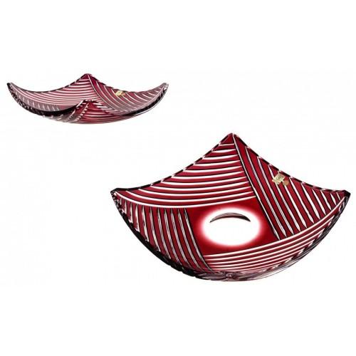 Insalatiera Linum, cristallo, colore rosso, diametro 350 mm