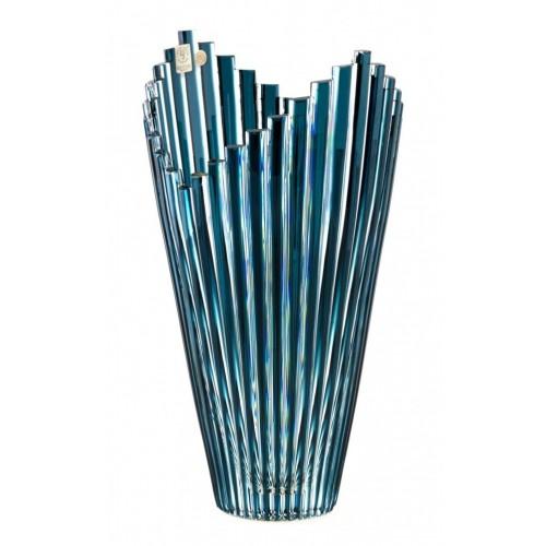 Vaso Mikado, cristallo, colore azzurro, altezza 310 mm