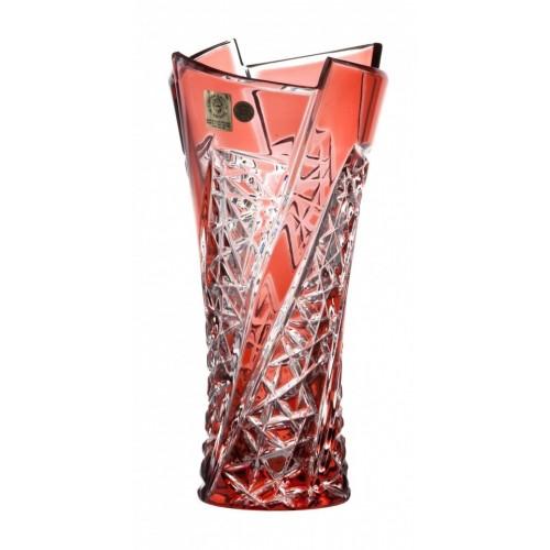 Vaso Fan, cristallo, colore rosso, altezza 205 mm