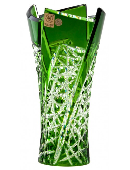 Vaso Fan, cristallo, colore verde, altezza 205 mm