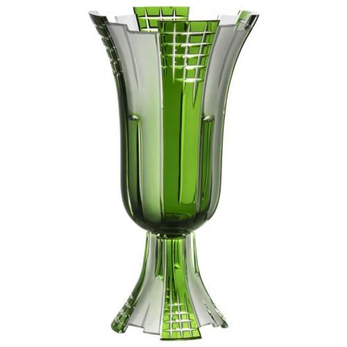 Vaso Metropolis, cristallo, colore verde, altezza 390 mm