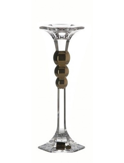 Portacandela Empire, cristallo trasparente dipinto oro, altezza 205 mm