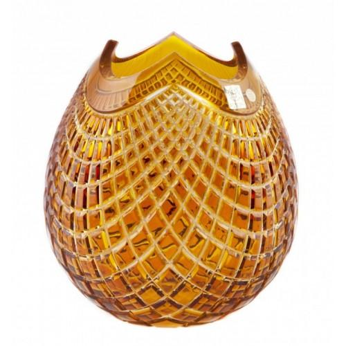 Vaso Quadrus, cristallo, colore ambera, altezza 280 mm
