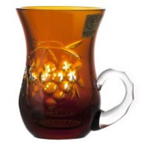 Tazza Grapes, cristallo, colore ambra, volume 100 ml