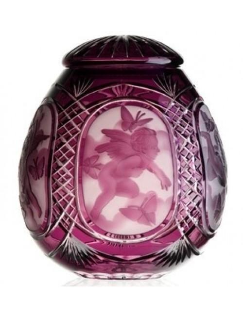 Urna Putto, cristallo, colore viola, altezza 290 mm