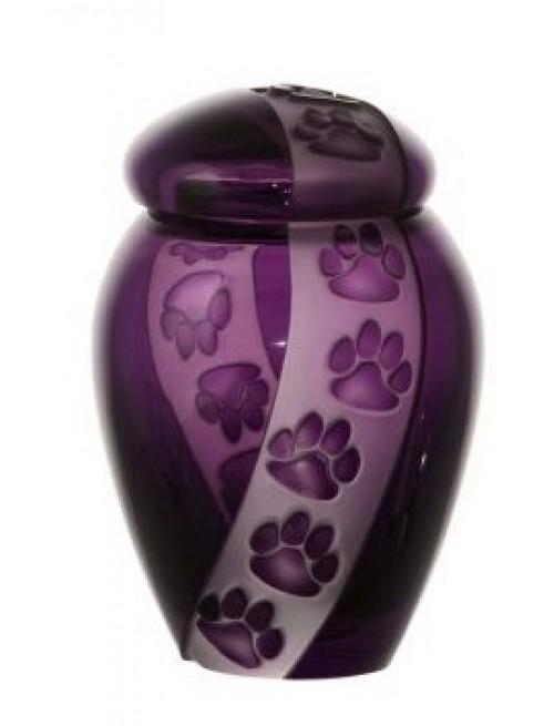 Urna Impronte, cristallo, colore viola, altezza 120 mm