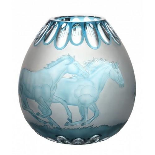 Vaso Cavalli, cristallo, colore azzurro, altezza 280 mm