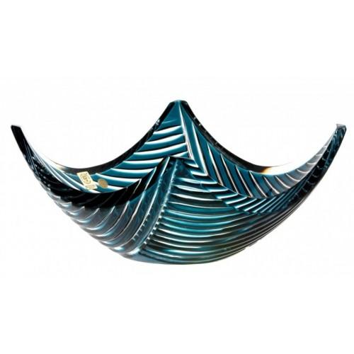Insalatiera Linum, cristallo, colore azzurro, diametro 280 mm