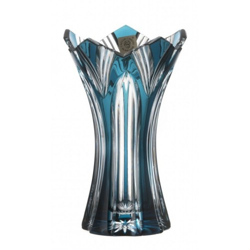 Vaso Lotos II, cristallo, colore azzurro, altezza 155 mm