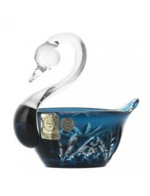 Cigno Miniature, cristallo, colore azzurro, diametro 100 mm