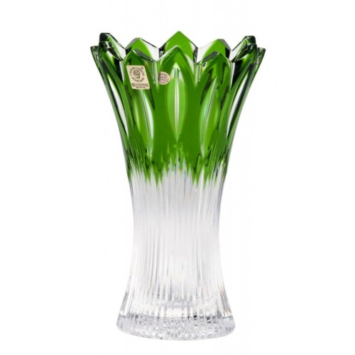 Vaso Flame II, cristallo, colore verde, altezza 205 mm