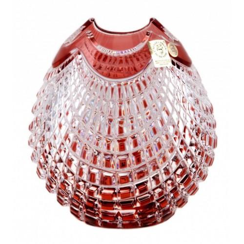 Vaso Quadrus, cristallo, colore rosso, altezza 135 mm