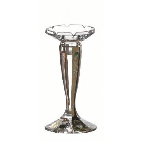 Portacendela Florance, cristallo trasparente dipinto oro, altezza 160 mm