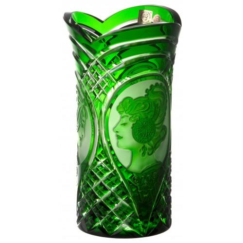 Vaso Mucha, cristallo, colore verde, altezza 210 mm