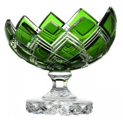 Portafrutta Harlequin, cristallo, colore verde, diametro 200 mm