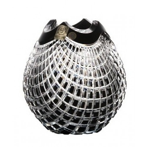 Vaso Quadrus, cristallo, colore nero, altezza 135 mm