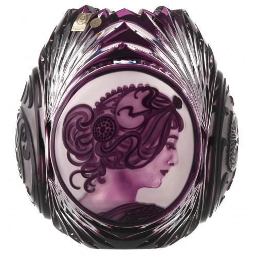 Vaso Mucha, cristallo, colore viola, altezza 210 mm