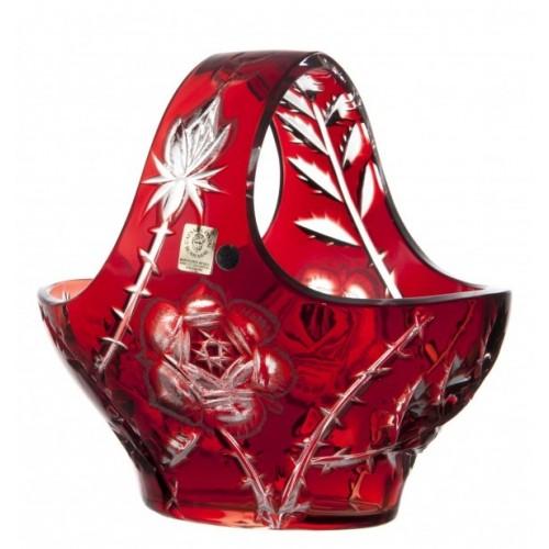 Cesto Rose, cristallo, colore rosso, diametro 200 mm