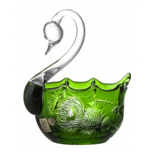 Cigno Miniature, cristallo, colore verde, diametro 116 mm
