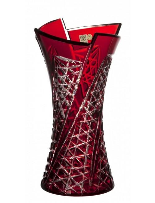 Vaso Fan, cristallo, colore rosso, altezza 305 mm