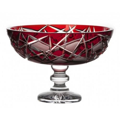 Portafrutta Mars, cristallo, colore rosso, diametro 280 mm