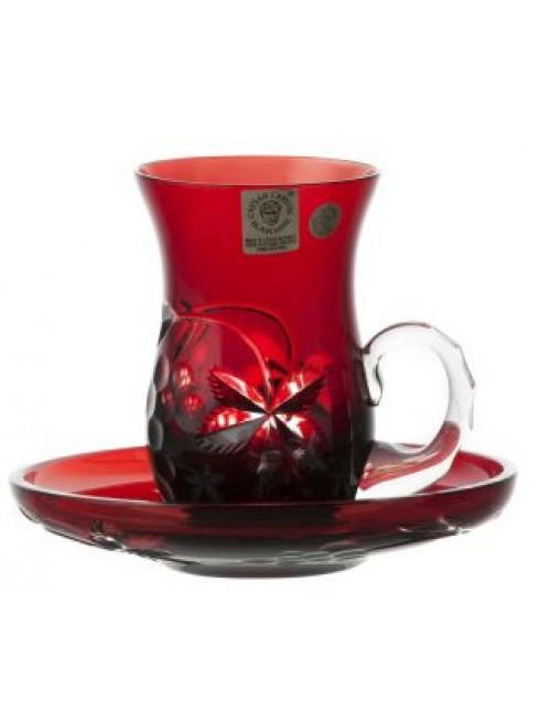 Set tazza + piatto Grapes, cristallo, colore rosso, volume 100 ml