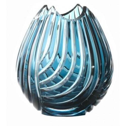 Vaso Linum, cristallo, colore azzurro, altezza 135 mm