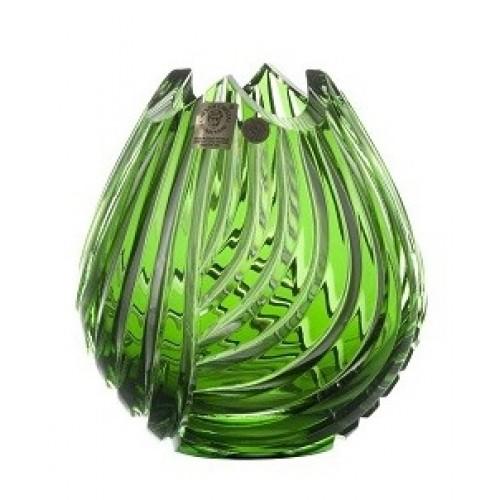 Vaso Linum, cristallo, colore verde, altezza 135 mm